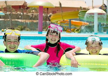 piscina, feliz, crianças