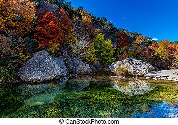 piscina, follaje, tejas, otoño