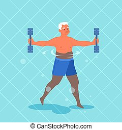 piscina, hombre, dumbbell., ejercicio, viejo