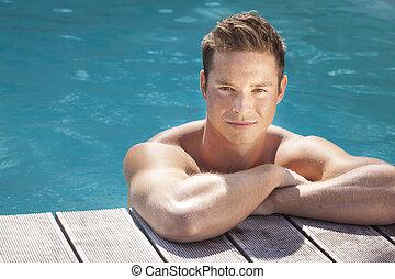 piscina, hombre