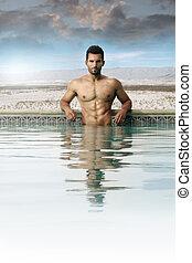 piscina, homem