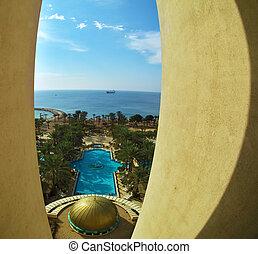 piscina, hotel, fotografado