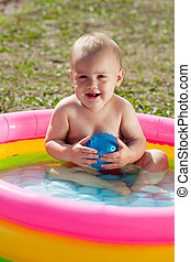 piscina, inflável, feliz, bebê