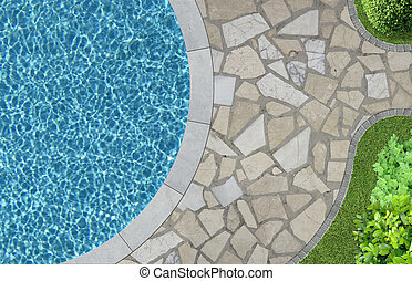 piscina, jardim, acima, natação