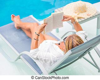 piscina, leitura mulher, relaxante, natação