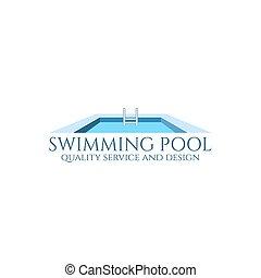 piscina, logo.