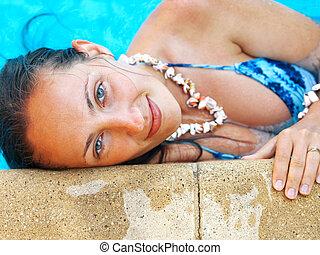 piscina, mulher