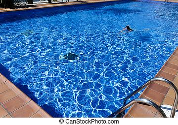 piscina, mulher, natação, jovem