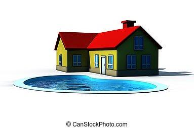 piscina, natação, casa, isolado