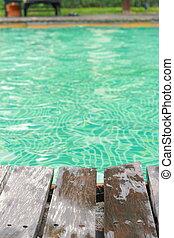 piscina, natação, poolside, -