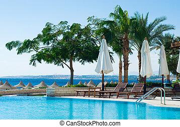 piscina, natación, océano