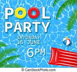 8321d2a9cbad Verano, plano, apretar la playa, bikinis, invitación, ilustración ...