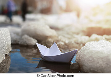 piscina, papel, inverno, bote