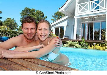 piscina, pareja, joven, privado, natación