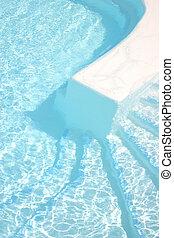 piscina, pasos