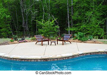 piscina, patio, natación