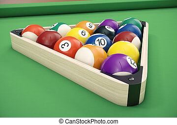 piscina, pelotas billar, en, un, de madera, estante, comúnmente, utilizado, posición de salida, 3d, ilustración, en, verde, fondo.