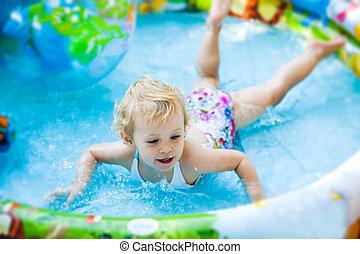 piscina, pequeno, blondie, menina, natação