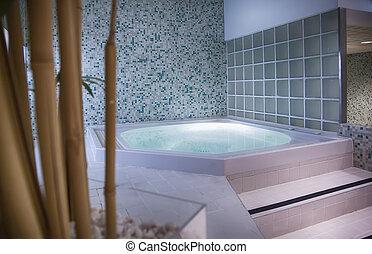 piscina, pequeno, spa