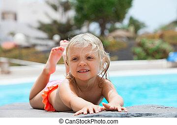 piscina, pequeno, sunbathing, menina, rocha
