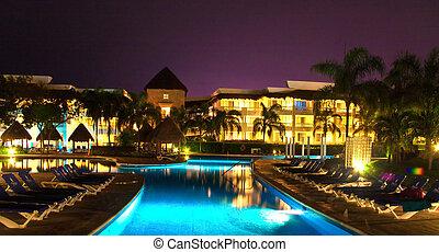 piscina, playa, iluminada, del, carmen