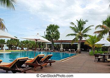 piscina, praia, e, barzinhos, de, a, popular, hotel, pattaya, tailandia