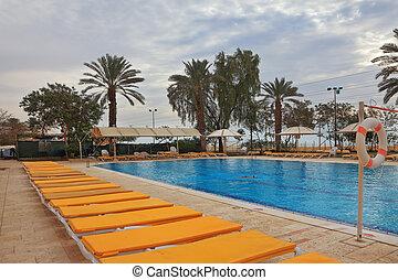 piscina, praia, loungers, natação
