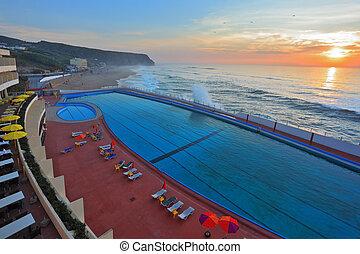 piscina, praia, natação