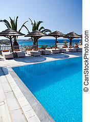 piscina, relaxe