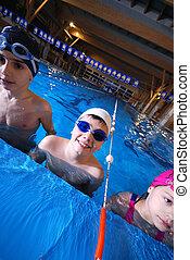 piscina, serie, natación, .childrens