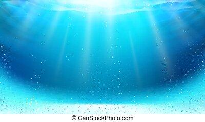 piscina, submarino, rayos, natación, vector, sol