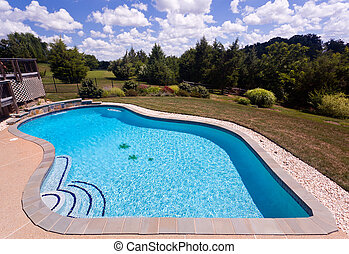 piscina traspatio, patio, natación