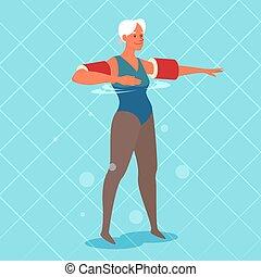 piscina, viejo, floaties, hands., ejercicio, natación, ella, mujer