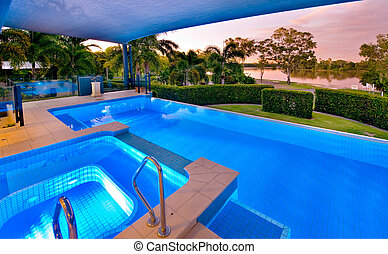 piscina, y, balneario