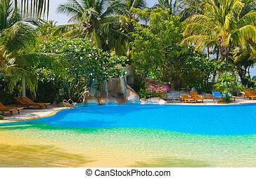 piscina, y, cascada, en, hotel