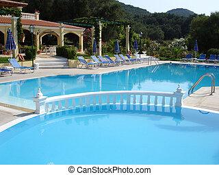 piscina, y, hotel