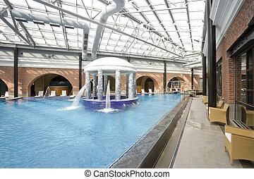 piscinas, balneario, hotel, natación