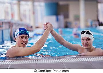 piscine, adolescent, groupe, heureux