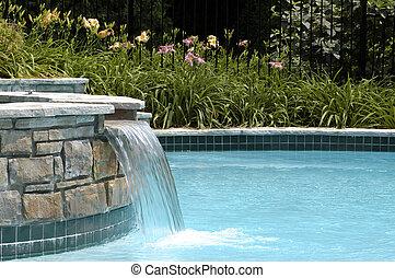 piscine, chute eau, natation