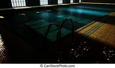piscine, concurrence, vide, swiming