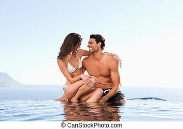 piscine, couple, bord, ensemble, séance
