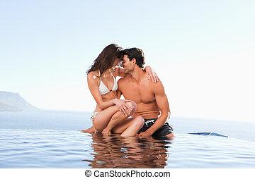piscine, couple, bord