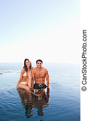 piscine, couple, fond, mer, bord, séance
