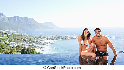 piscine, couple, fond, paysage, bord, séance
