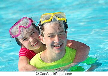 piscine, enfants jouer