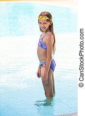 piscine, extérieur, girl, adorable, peu