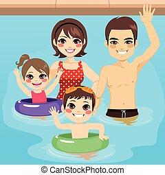 piscine, famille