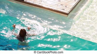 piscine, femme, natation