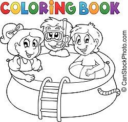 piscine, livre, gosses, coloration