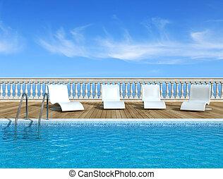 piscine, luxe, natation
